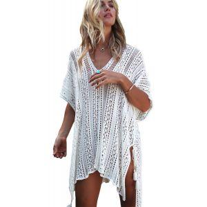 White Crochet Knitted Tassel Tie Kimono Beachwear