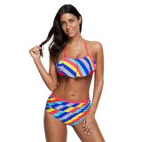 Rainbow Striped Ruffle Trim 2pcs Bikini Swimsuit