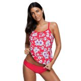 Red White Floral Tankini 2pcs Bathing Suit