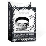 Bondage Fetish Metallic Silver Pup Collar With Leash