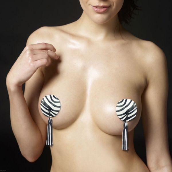 Reusable Zebra Round Tassel Nipple Pasties