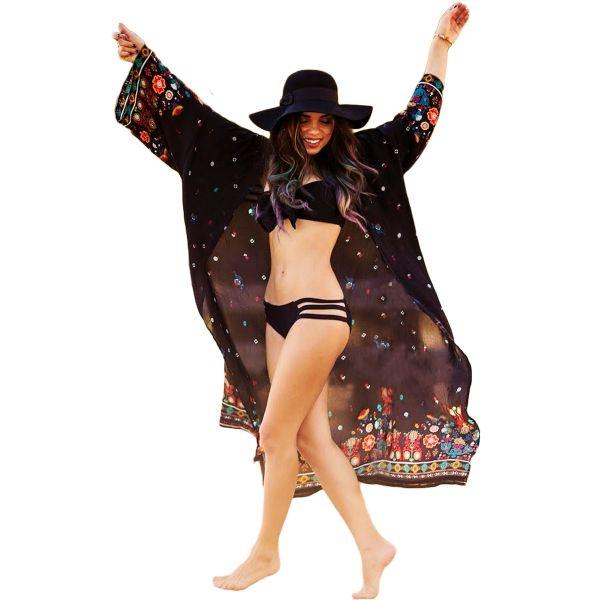 Black Maxi Beach And Street Printed Cover Up Kimono