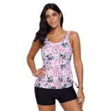 Pretty Flower Print Tie Side Tankini Short Swimsuit