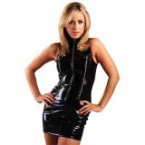 Black Vinyl Women Sleeveless Dress
