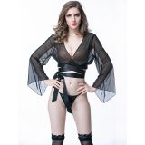 Black Long Sleeve Mesh Sexy Lingerie Babydoll Tops