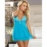 Sexy Blue Open Back Chemise