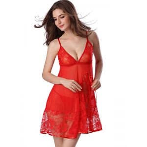 Red S-XXL Transparent Lace Babydoll Lingerie