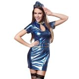 Blue M&L Short Sleeve Stewardess Uniform Costume