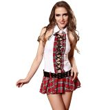 Red One Size Sexy Study Partner School Girl Costume