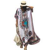 White Ethnic Print Kaftan Maxi Dress