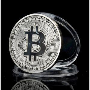 РАСПРОДАЖА! Сувенирная монета coin Bitcoin серебро
