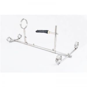 Female Stainless Steel New Style Bondage Frame Dog Slaves Devices ( Handcuffs+Ankle+Collars+penis )