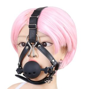 Silicone ball gag with nose-hooks