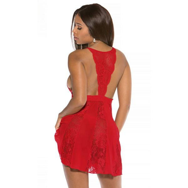 Red Sheer Stretch Lace and Net Open Back Babydoll