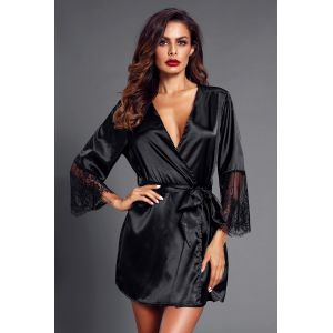 Black Sash Eyelash Lace Sleeves Robe - Халаты, пижамы