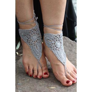 Grey Crochet Triangle Barefoot Beach Sandals - Анклеты
