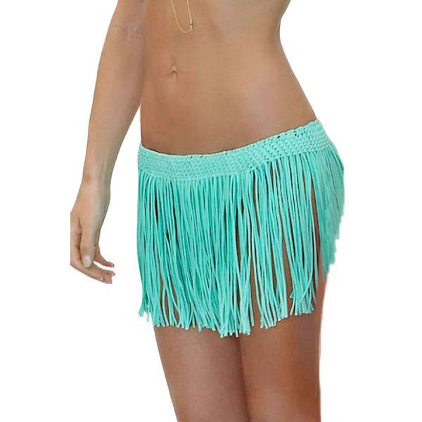 Crisp Cyan Fringe Skirt Cover up