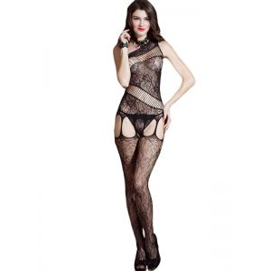 Black One Shoulder Sexy Bodystocking