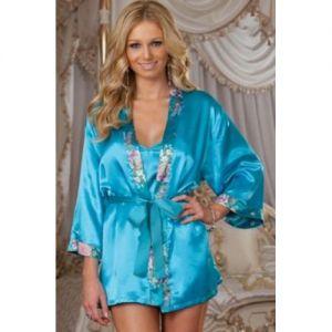 РАСПРОДАЖА! Голубой шелковый халат с пояском - СВЕЖИЕ ПОСТУПЛЕНИЯ!