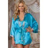 РАСПРОДАЖА! Голубой шелковый халат с пояском по оптовой цене