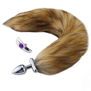 Deformable Fox Tail Metal Anal Plug