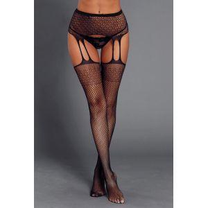 Black Fishnet Gartered Thigh Highs
