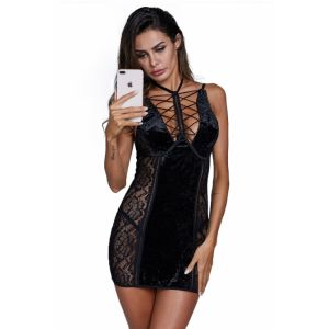 Estella Lace and Velvet Chemise