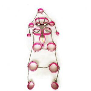 Female Fully Adjustable Model-T Stainless Steel Premium Chastity 8 Pcs Kit Black Pink