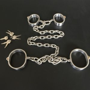 Male Latest Design Bolt Lock Stainless Steel Hand and Foot Connecting Handcuffs