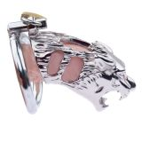 BDSM (БДСМ) - Latest Tiger Head Stainless Steel Male Chastity Device cocks Cage