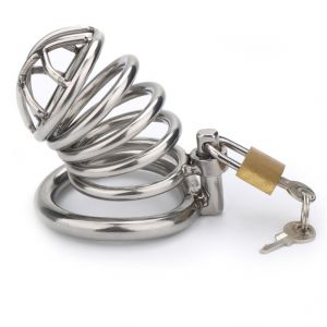 Stainless Steel Male Chastity Cage Devices Arc Ring