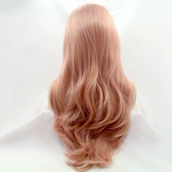 Реалистичный парик на сетке пастельно розовые длинные вьющиеся волосы