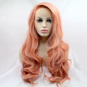 Реалистичный парик на сетке пастельно персиковые длинные вьющиеся волосы