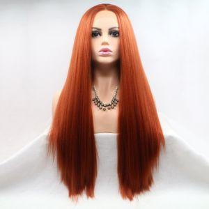 Реалистичный парик на сетке ярко рыжие длинные волосы