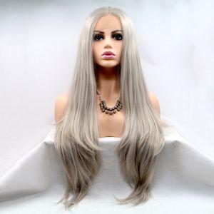 Парик платиновый блонд женский длинный прямой на сетке из термоволос