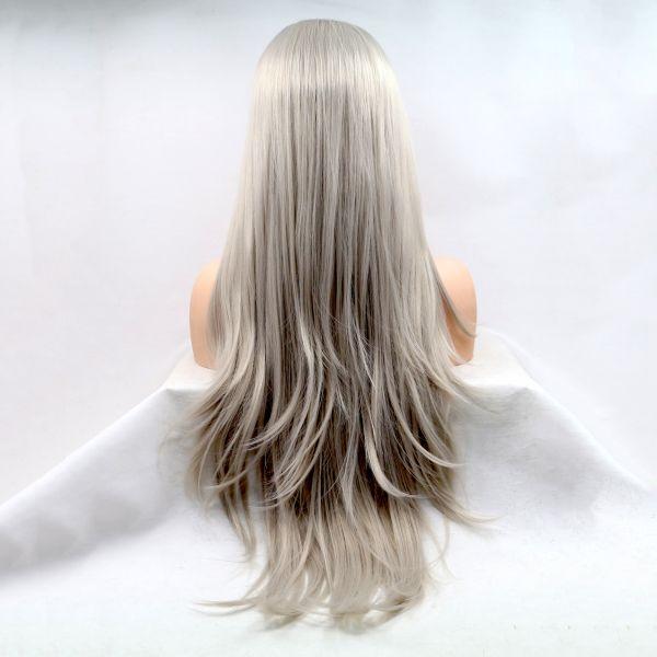 Реалистичный парик на сетке длинные волосы платиновый блонд