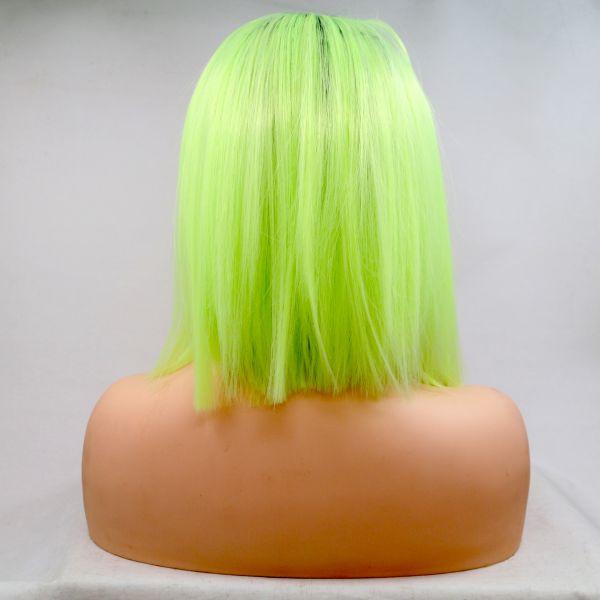 Реалистичный парик омбре на сетке ярко лаймовые прямые волосы каре