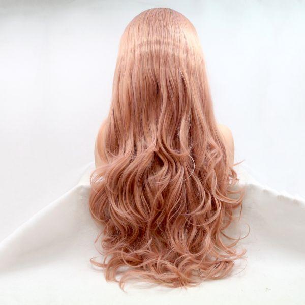 Реалистичный парик омбре на сетке пастельно розовые длинные вьющиеся волосы