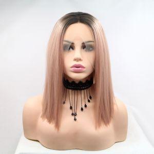 Реалистичный парик омбре на сетке пастельно розовые прямые волосы каре