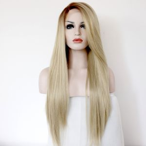 Парик медовый блонд женский длинный прямой на сетке с омбре из термоволос