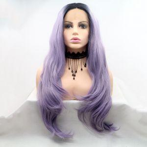 Парик фиолетовый женский длинный волнистый на сетке с омбре из термоволос
