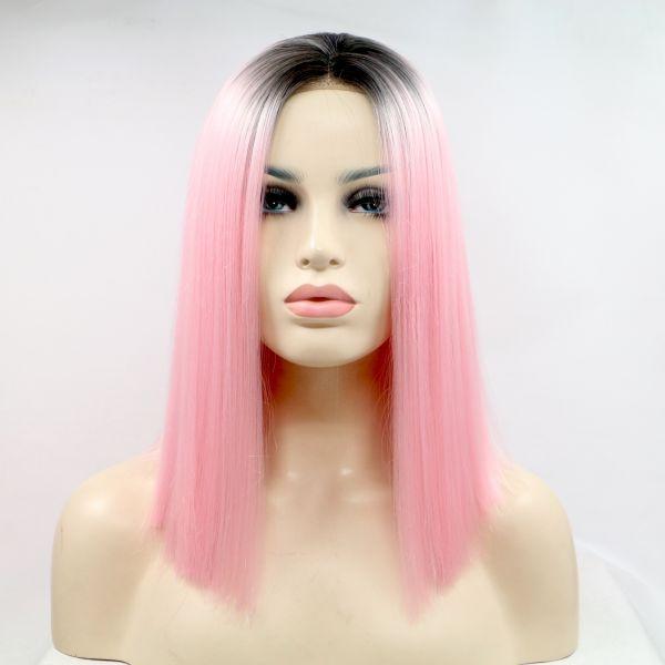 Реалистичный парик омбре на сетке ярко розовые прямые волосы каре