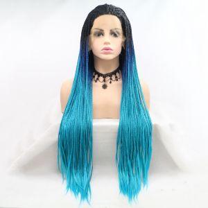 Реалистичный парик омбре на сетке голубые длинные афро косы