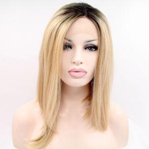 Реалистичный парик на сетке блонд омбре асиммeтричное каре с черными корнями