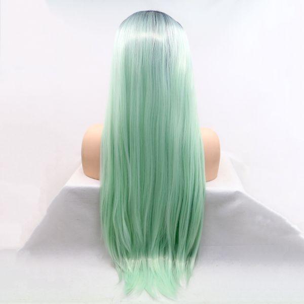 Длинный парик на сетке ментоловое омбре из ровных волос
