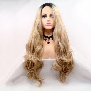 Длинный волнистый парик на сетке натуральный блонд омбре с черными корнями - СВЕЖИЕ ПОСТУПЛЕНИЯ!