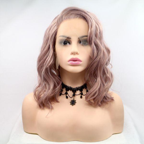 Пастельно розовый парик на сетке с мягкой волной