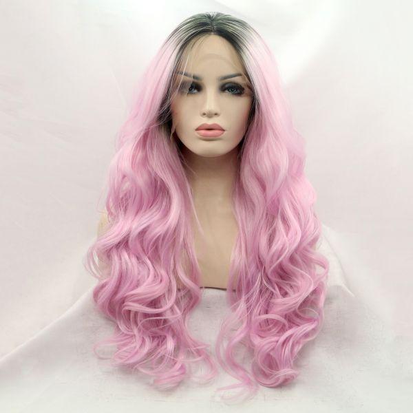 Длинный волнистый парик на сетке розовый омбре с черными корнями