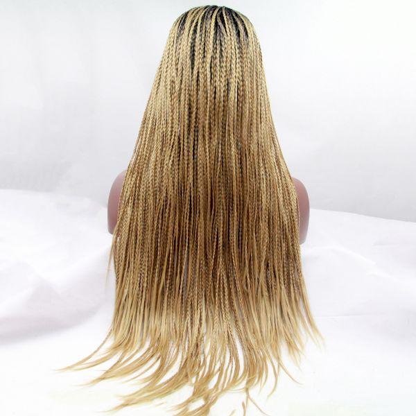 Длинный парик блонд омбре из афро косичек с темными корнями