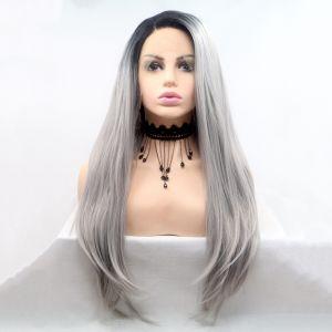 Длинное светло серое омбре парик на сетке с черными корнями